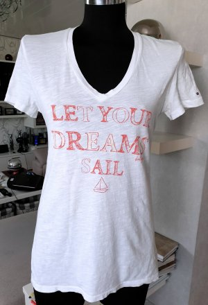 Tommy Hilfiger T-Shirt V-Ausschnitt weiß Gr. S Kurzarm