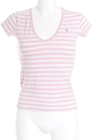 Tommy Hilfiger T-Shirt weiß-rosa Streifenmuster Casual-Look
