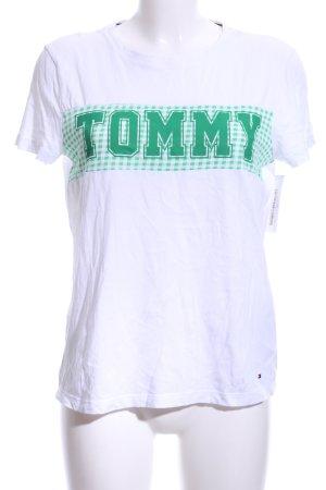 Tommy Hilfiger T-Shirt weiß-waldgrün Motivdruck Casual-Look
