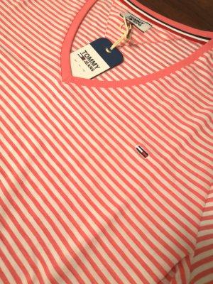 Tommy Hilfiger Texture Feel V Neck T-Shirt Glamour Pink/White Gr. S neuwertig!