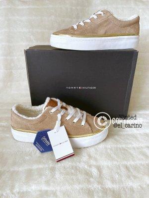 Tommy Hilfiger TH *Cosy Lace Suede* Plateau Sneaker Halbschuhe Teddyfell Velours Warm - Größe 40