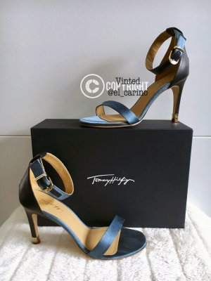 Tommy Hilfiger TH *Janet Top Tier 2c* High-Heels Sandaletten Riemchenpumps Peeptoes Blau  -Größe 39
