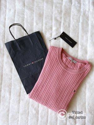 Tommy Hilfiger TH Sweater Sweatshirt Pullover Wollpullover Wolle Baumwollmix Strick Zopf Stretch