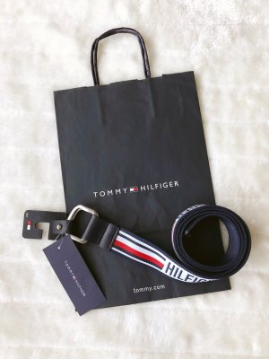 Tommy Hilfiger TH *Urban D-Ring Webbing Belt* Gürtel Stoff Flex Unisex Logo variabel Blogger