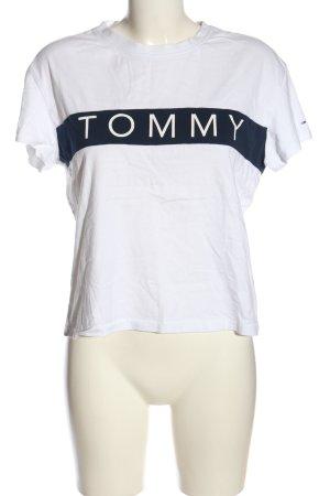 Tommy Hilfiger Koszulka z dekoltem w łódkę biały-niebieski Wydrukowane logo