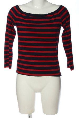 Tommy Hilfiger Koszulka z dekoltem w łódkę czarny-czerwony Wzór w paski