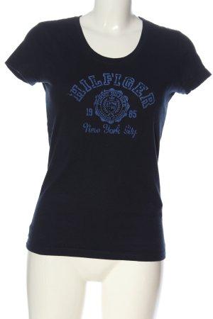 Tommy Hilfiger U-Boot-Shirt blau Schriftzug gedruckt Casual-Look