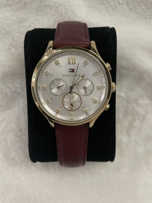 Tommy Hilfiger Watch With Leather Strap carmine-bordeaux