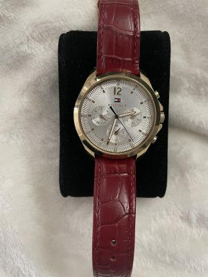 Tommy Hilfiger Watch With Leather Strap carmine-dark red