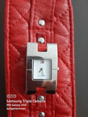 Tommy Hilfiger Watch With Leather Strap red