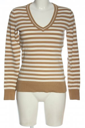 Tommy Hilfiger V-Ausschnitt-Pullover braun-wollweiß Streifenmuster Casual-Look