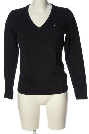 Tommy Hilfiger V-Ausschnitt-Pullover schwarz Schriftzug gestickt Casual-Look
