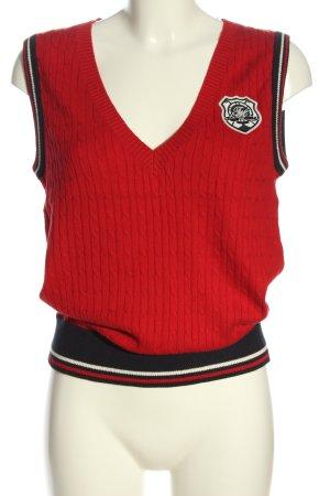 Tommy Hilfiger V-Ausschnitt-Pullover rot-schwarz Business-Look