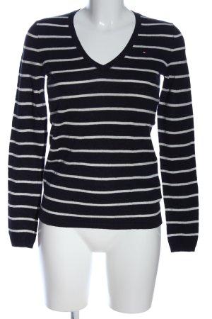 Tommy Hilfiger V-Ausschnitt-Pullover schwarz-weiß Schriftzug gestickt