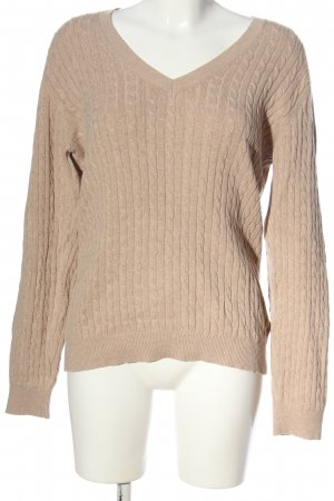 Tommy Hilfiger V-Ausschnitt-Pullover creme Zopfmuster Casual-Look