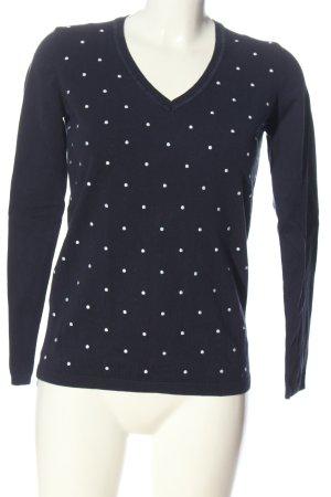 Tommy Hilfiger V-Ausschnitt-Pullover blau-weiß Punktemuster Casual-Look