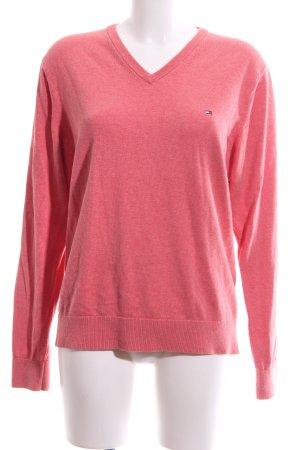 Tommy Hilfiger V-Ausschnitt-Pullover pink meliert Business-Look
