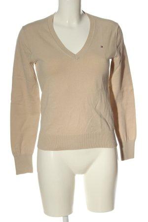 Tommy Hilfiger V-Ausschnitt-Pullover nude Zopfmuster Casual-Look