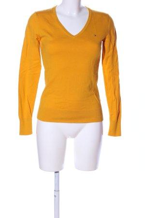 Tommy Hilfiger Maglione con scollo a V arancione chiaro stile casual