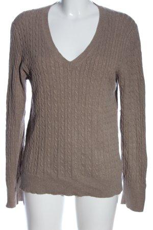 Tommy Hilfiger V-Ausschnitt-Pullover braun meliert Casual-Look