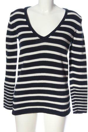 Tommy Hilfiger V-Ausschnitt-Pullover blau-weiß Streifenmuster Casual-Look
