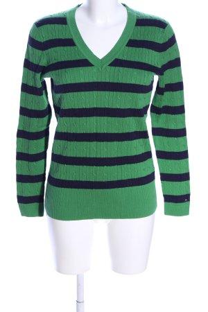 Tommy Hilfiger V-Ausschnitt-Pullover grün-blau Streifenmuster Casual-Look
