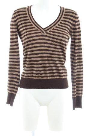 Tommy Hilfiger V-Ausschnitt-Pullover wollweiß-braun Streifenmuster Casual-Look