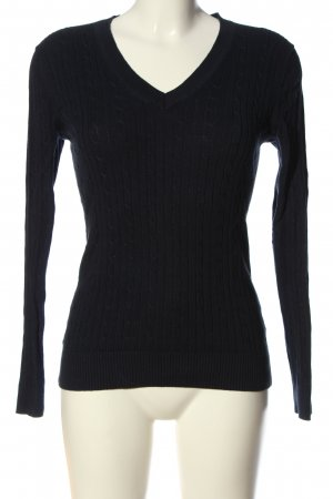 Tommy Hilfiger V-Ausschnitt-Pullover schwarz Zopfmuster Casual-Look