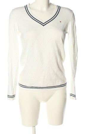 Tommy Hilfiger V-Ausschnitt-Pullover weiß-schwarz Casual-Look