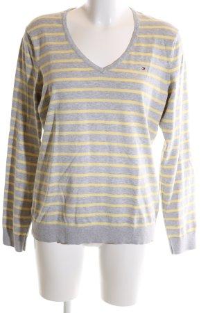 Tommy Hilfiger V-Ausschnitt-Pullover hellgrau-blassgelb Streifenmuster