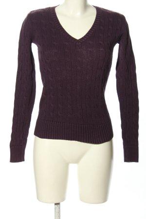 Tommy Hilfiger V-Ausschnitt-Pullover braun Zopfmuster Casual-Look