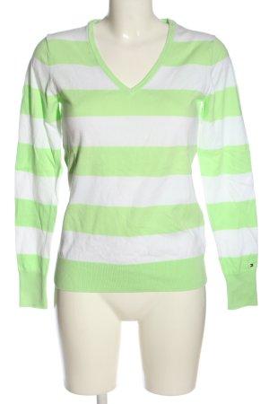 Tommy Hilfiger V-Ausschnitt-Pullover grün-weiß Allover-Druck Casual-Look