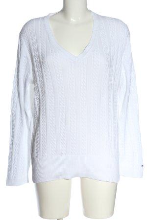 Tommy Hilfiger V-Ausschnitt-Pullover weiß schlichter Stil