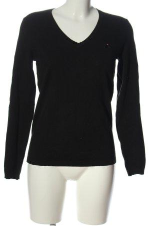 Tommy Hilfiger V-Ausschnitt-Pullover schwarz Elegant