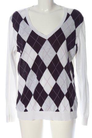 Tommy Hilfiger V-Ausschnitt-Pullover weiß-schwarz grafisches Muster Casual-Look