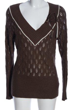 Tommy Hilfiger V-Ausschnitt-Pullover braun Webmuster Casual-Look