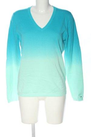 Tommy Hilfiger V-Ausschnitt-Pullover blau-weiß Farbverlauf Casual-Look