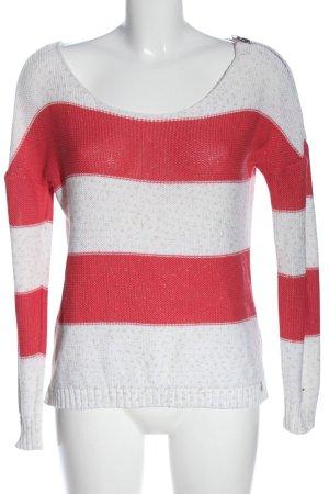 Tommy Hilfiger V-Ausschnitt-Pullover weiß-rot Streifenmuster Casual-Look
