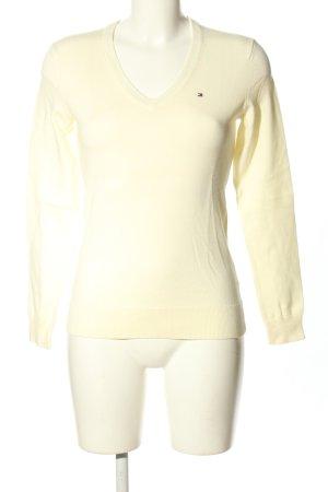 Tommy Hilfiger V-Ausschnitt-Pullover creme Schriftzug gestickt Casual-Look