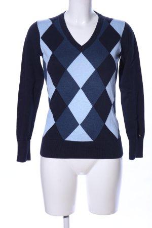 Tommy Hilfiger V-Ausschnitt-Pullover blau grafisches Muster Casual-Look