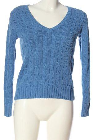 Tommy Hilfiger V-Ausschnitt-Pullover blau Zopfmuster Casual-Look