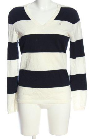 Tommy Hilfiger V-Ausschnitt-Pullover weiß-blau Streifenmuster Casual-Look