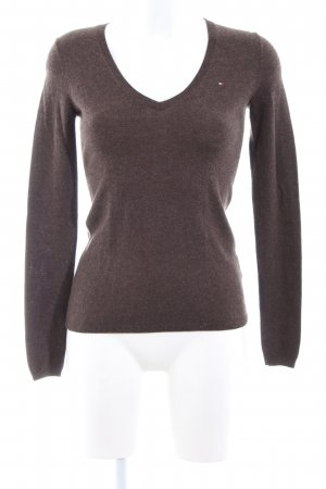 Tommy Hilfiger V-Neck Sweater brown flecked business style