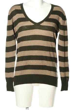 Tommy Hilfiger V-Ausschnitt-Pullover creme-braun Streifenmuster Casual-Look