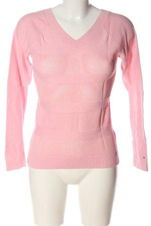 Tommy Hilfiger V-Ausschnitt-Pullover pink Streifenmuster Casual-Look