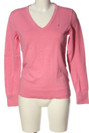 Tommy Hilfiger V-Ausschnitt-Pullover pink Schriftzug gestickt Casual-Look
