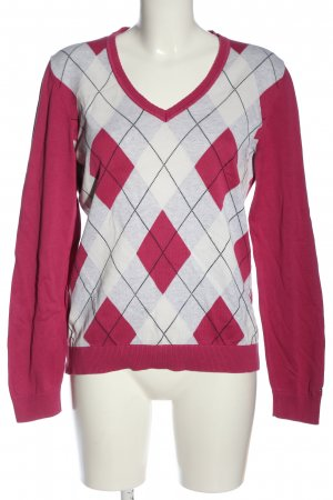 Tommy Hilfiger V-Ausschnitt-Pullover pink-hellgrau grafisches Muster Casual-Look