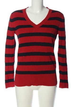 Tommy Hilfiger V-Ausschnitt-Pullover rot-schwarz Streifenmuster Casual-Look