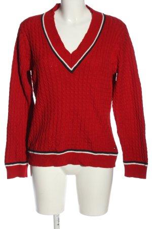 Tommy Hilfiger V-Ausschnitt-Pullover rot Zopfmuster Casual-Look