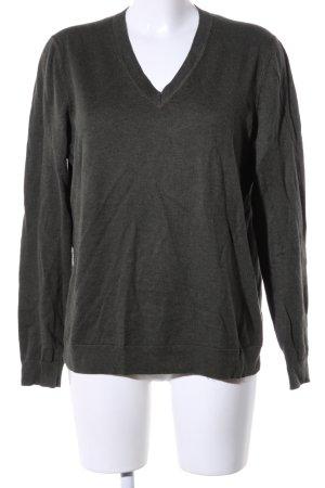 Tommy Hilfiger V-Ausschnitt-Pullover dunkelgrün meliert Casual-Look
